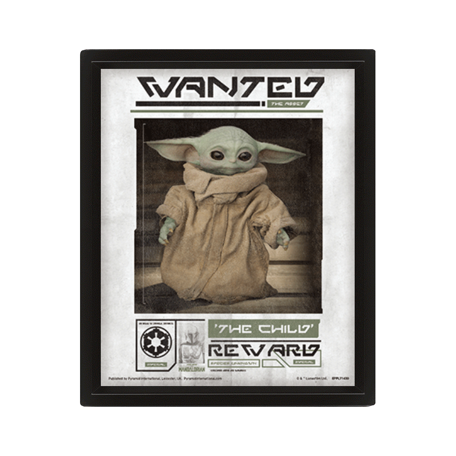 POSTER 3D STAR WARS THE MANDALORIAN WANTED THE CHILD